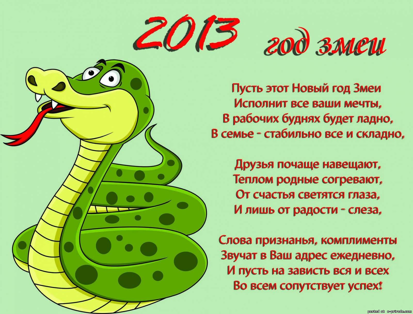 Поздравления змее